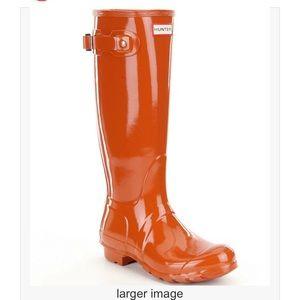 Hunter Burnt Orange Original High Gloss Boot SZ 6